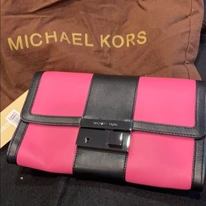 MICHAEL KORS convertible leather clutch
